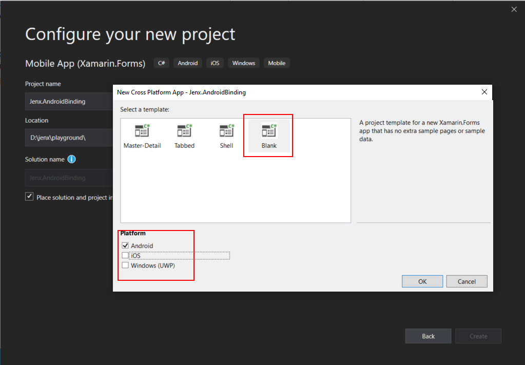 new blank xamarin forms project