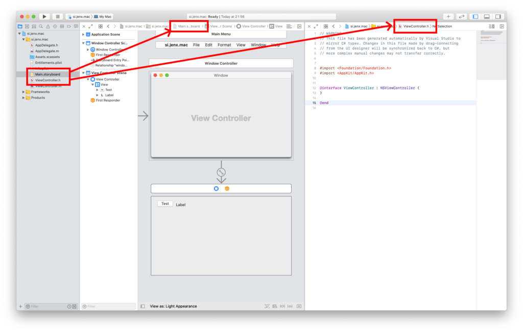 storyboard and header file in xcode