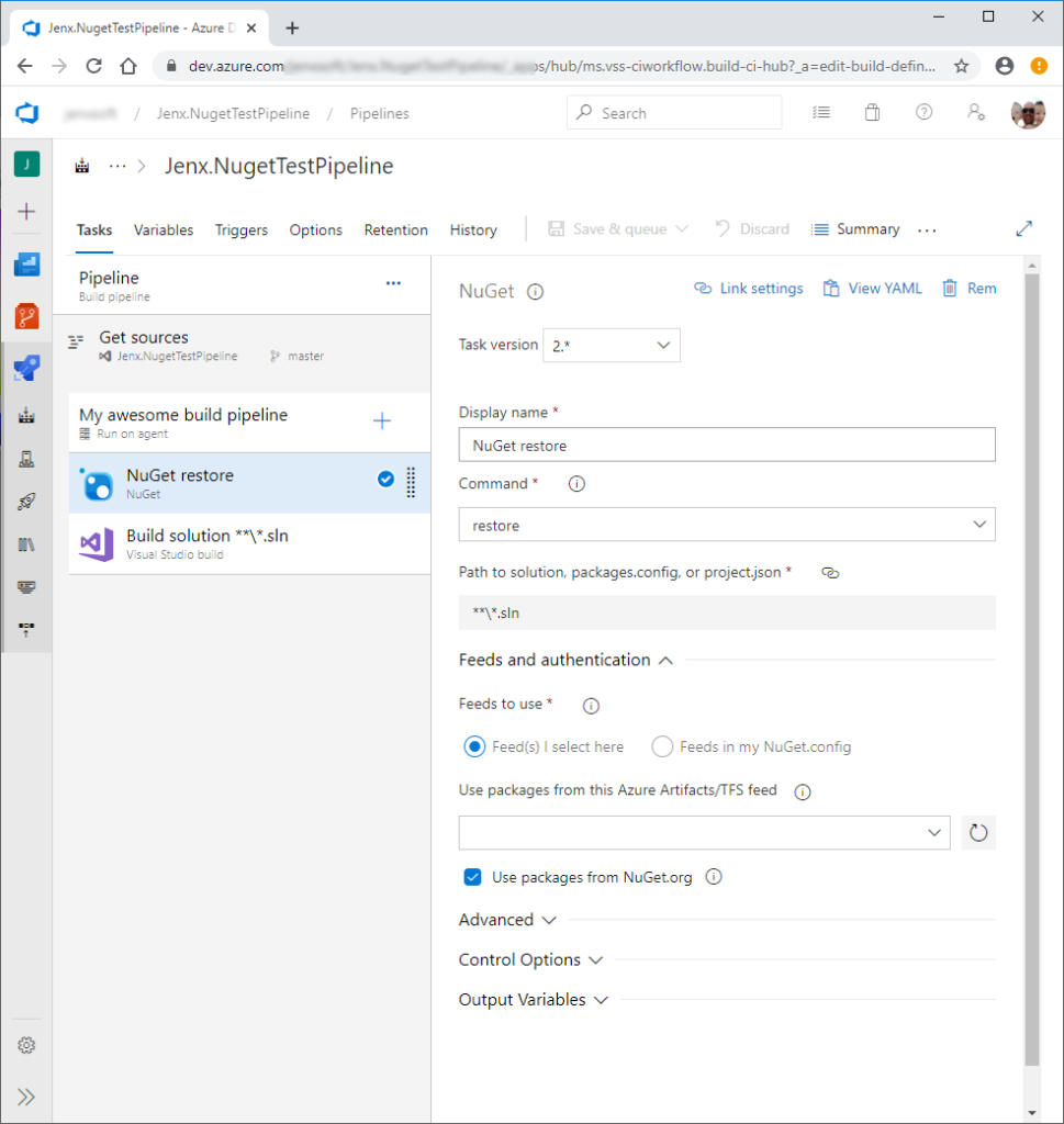 simple azure devops build pipeline definition