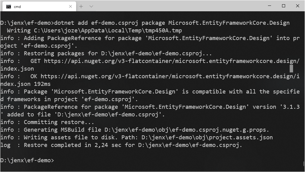 dotnet tool adding package reference command
