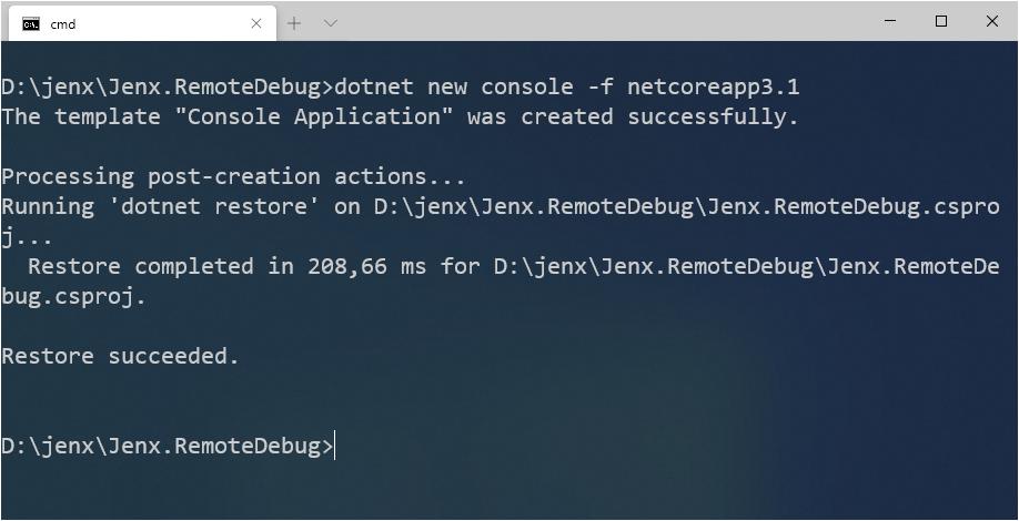 new .net core console app